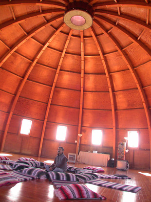 Inside the domed chamber