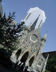 Christ Church Cathedral on Rue St. Catherine - the only church in Canada to sit atop an underground mall. The dramatic view from the street of the office tower's façade reflecting the church has become a city icon